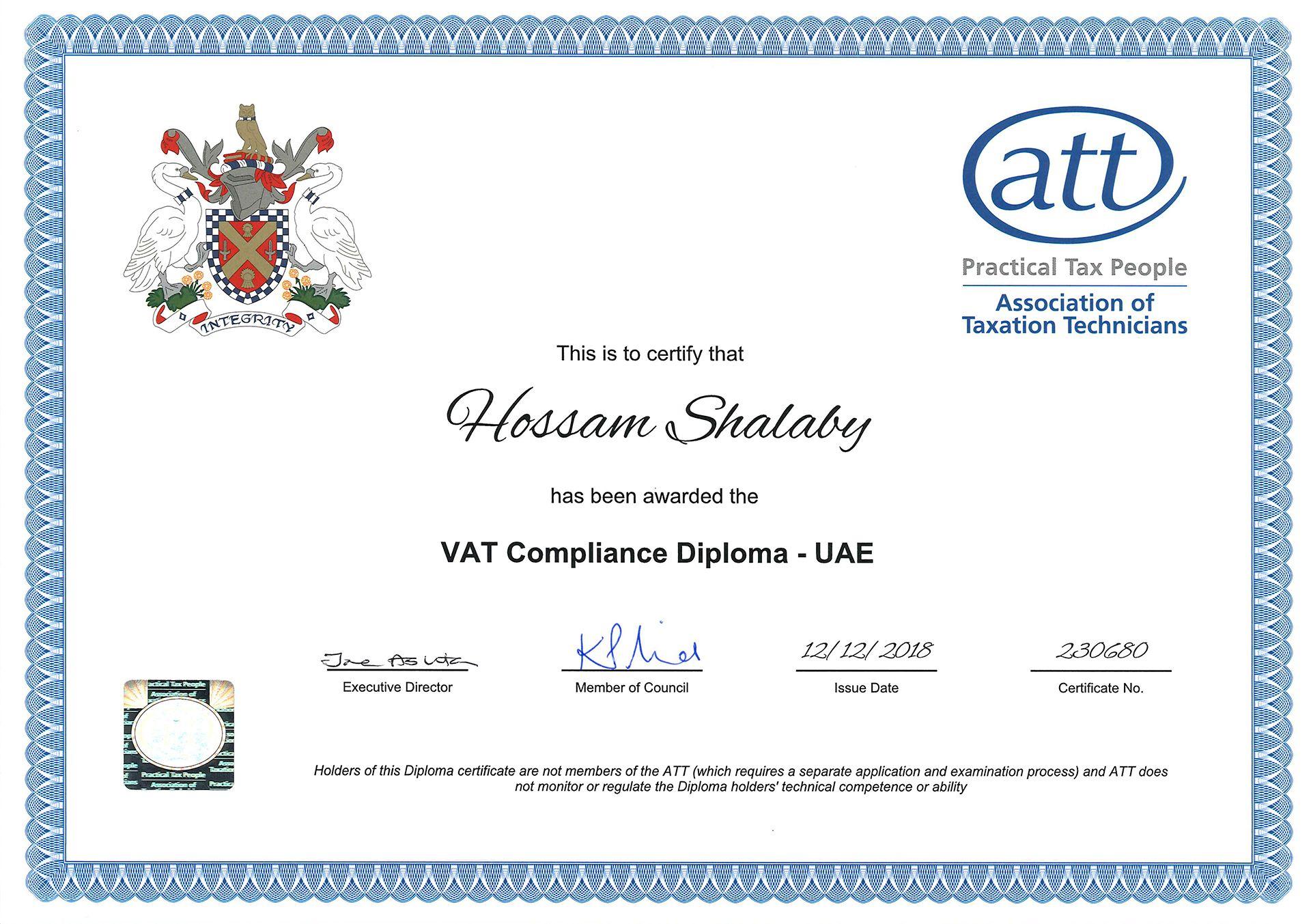 Hossam's Certificate
